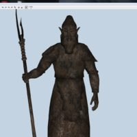 Dwemer Statue in Nifskope (after applying the animation pose to the model)